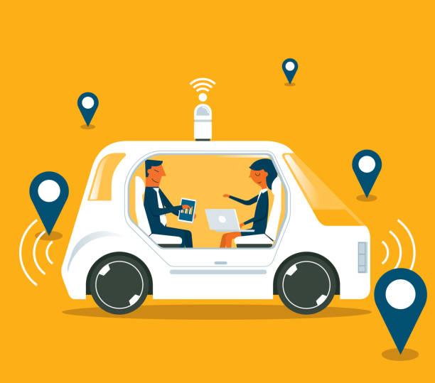 ilustraciones, imágenes clip art, dibujos animados e iconos de stock de auto autónomo autoconducido-los empresarios - vehículos sin conductor