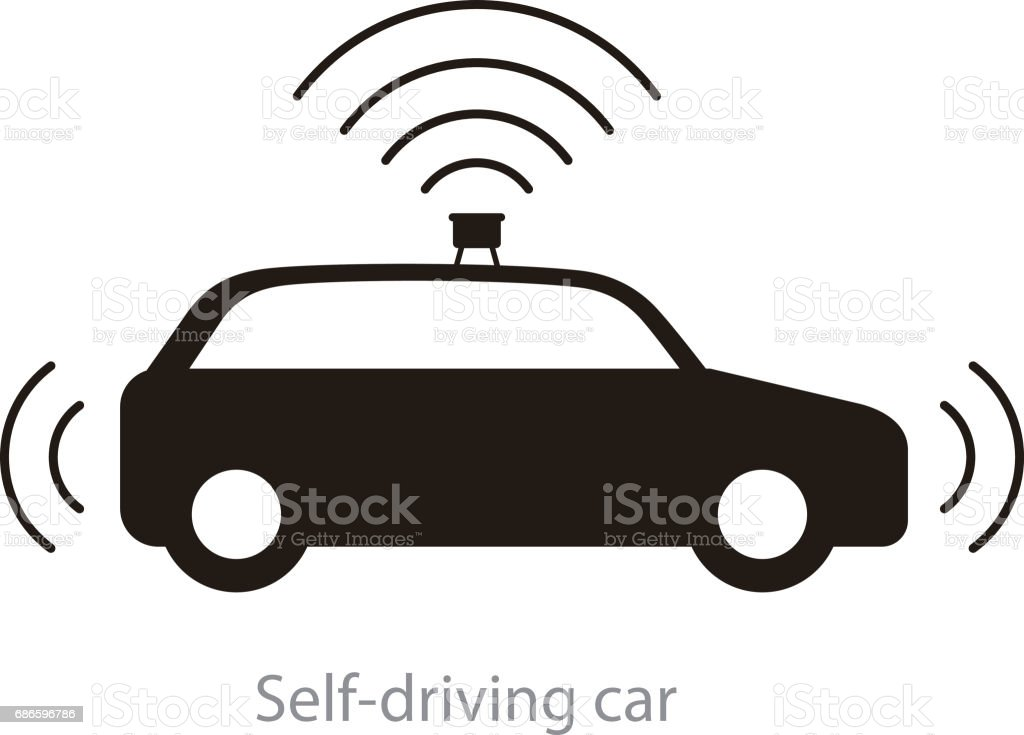 Autonomous self-driving car, side view with radar flat icon royalty-free autonomous selfdriving car side view with radar flat icon stock vector art & more images of artificial