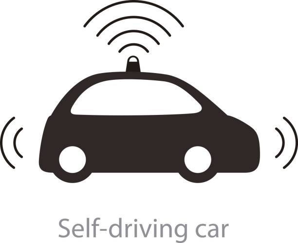 autonomous self-driving car, side view with radar flat icon - self driving cars stock illustrations, clip art, cartoons, & icons