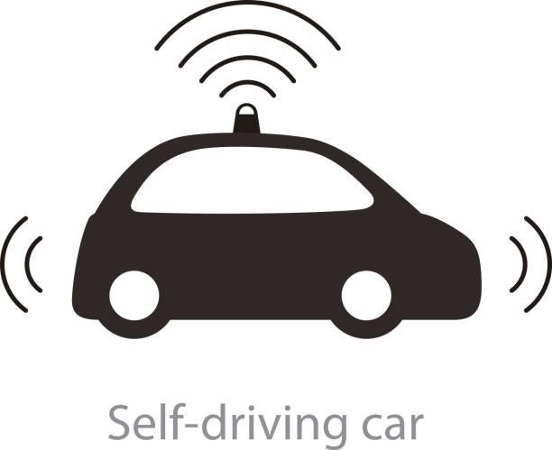 自律型自動運転車、レーダー フラット アイコンでのサイドビュー - 自動運転車点のイラスト素材/クリップアート素材/マンガ素材/アイコン素材