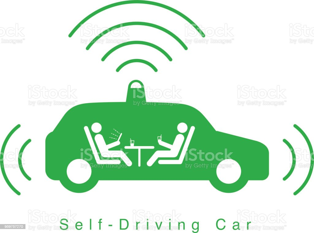 Autonomous self-driving car, side view with radar flat icon vector art illustration