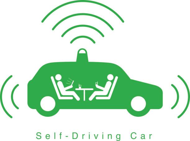 ilustraciones, imágenes clip art, dibujos animados e iconos de stock de coche uno mismo-conducción autónoma, vista lateral con icono plana radar - vehículos sin conductor