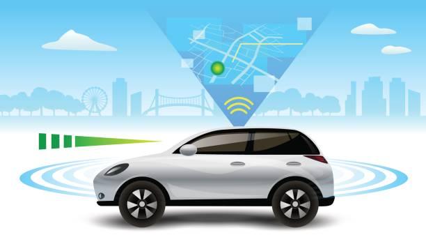 autonome selbstfahrenden fahrerlose auto. auto seitenansicht mit radar-vektor-illustration. - selbstfahrende autos stock-grafiken, -clipart, -cartoons und -symbole
