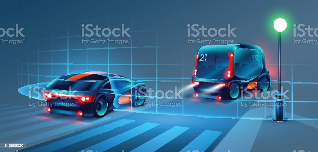 Autonomous smart bus and car rides through the night city. Smart bus scans the road and goes without a driver. Smart bus recognize road signs, lane markings and pedestrians at the crosswalk. VECTOR vector art illustration