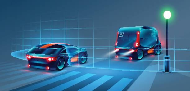 autonome intelligente bus- und pkw-fahrten durch die nächtliche stadt. intelligente bus scannt die straße und geht ohne fahrer. intelligente bus erkennen verkehrszeichen, fahrbahnmarkierungen und fußgänger auf den zebrastreifen. vektor - sensorischer impuls stock-grafiken, -clipart, -cartoons und -symbole