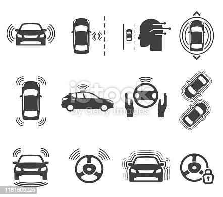 Autonomous smart car glyph icons vector set. Unmanned auto black silhouette illustrations. Automatic navigation vehicle symbols isolated on white. Driverless transportation cliparts collection