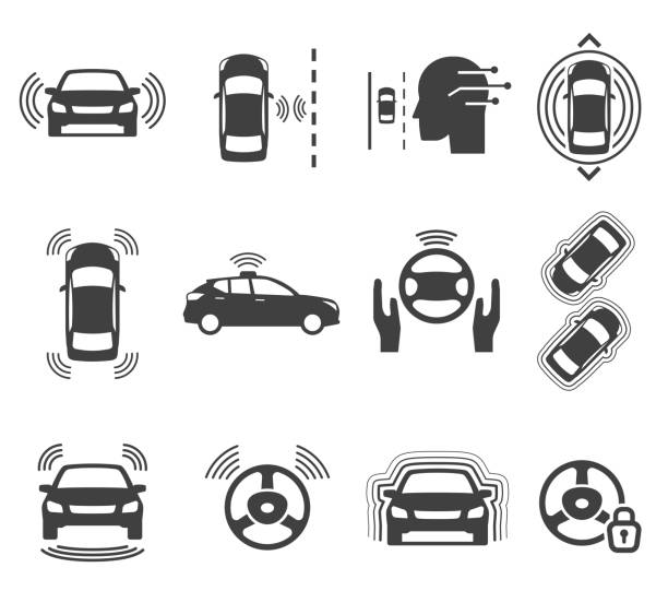 illustrazioni stock, clip art, cartoni animati e icone di tendenza di autonomous smart car glyph icons vector set - car