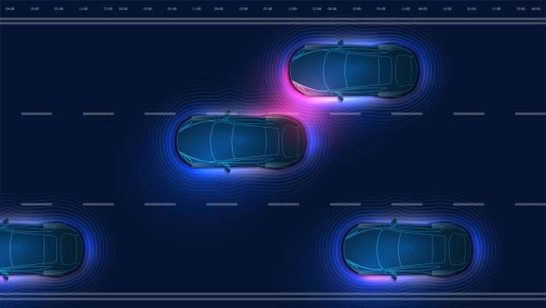 自主智慧汽車在掃描路上, 觀察距離。自主自駕游電動車改變車道, 超車城市車輛。未來 hud 概念。最上面看的車。向量 - 獨立 幅插畫檔、美工圖案、卡通及圖標