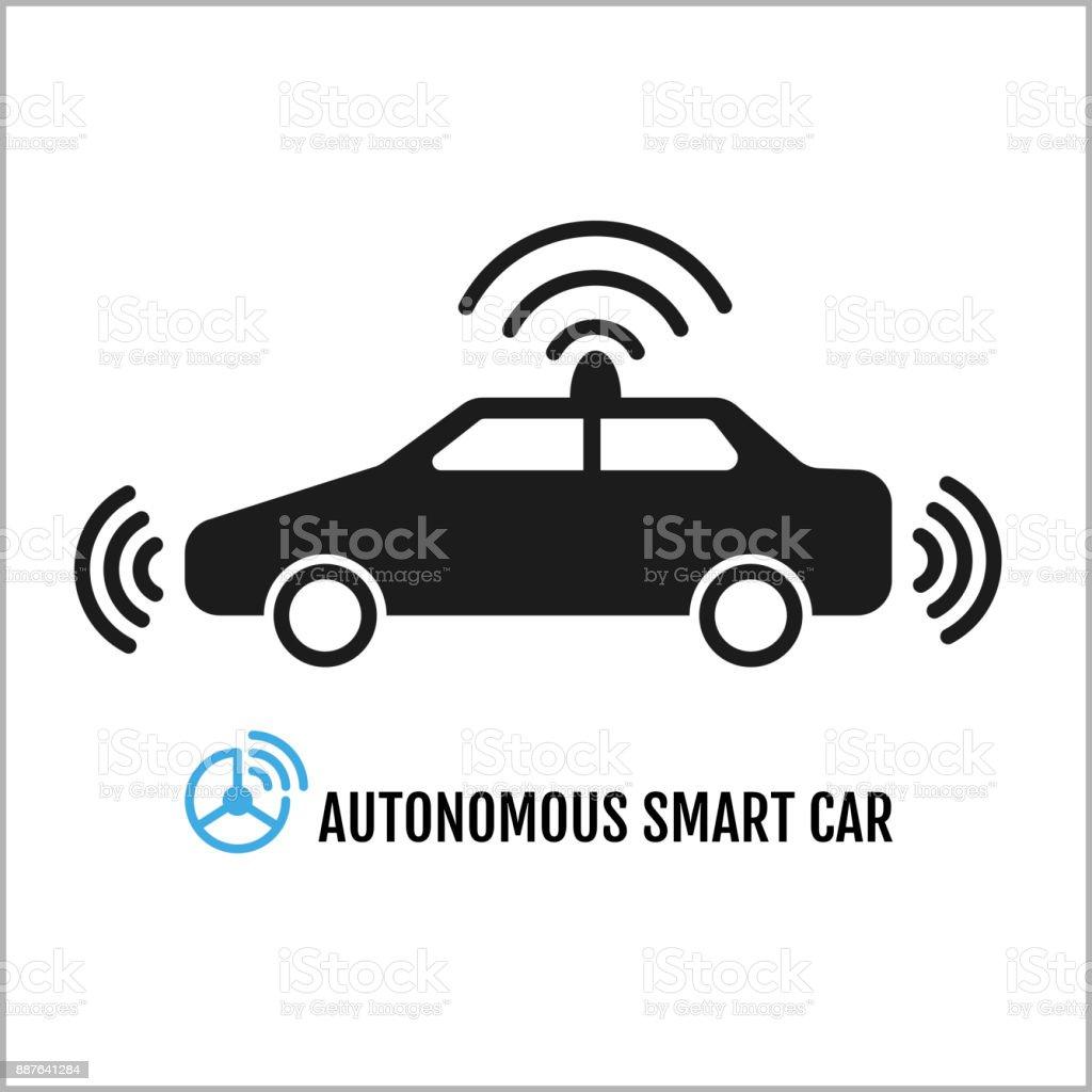 Autonomous Smart Car Icon Design vector art illustration