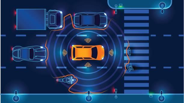 autonomous smart car - self driving cars stock illustrations, clip art, cartoons, & icons