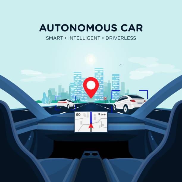 ilustraciones, imágenes clip art, dibujos animados e iconos de stock de autónomo smart driverless coche autoconducción. vista interior del coche en la carretera con el tráfico - vehículos sin conductor