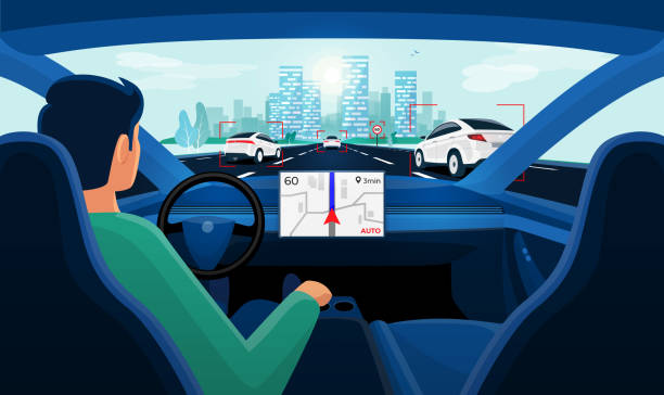 bildbanksillustrationer, clip art samt tecknat material och ikoner med autonom smart driverless bil självkörande. föraren utan styrning. - kör