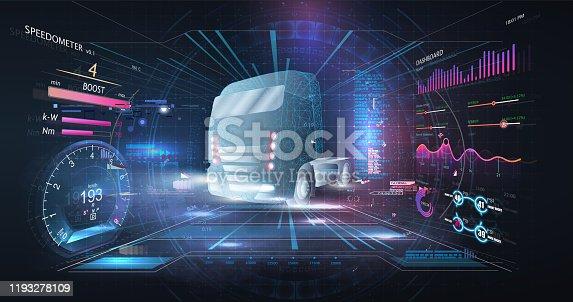 Autonomous smart truck. Unmanned vehicles. artificial intelligence controls the Autonomous truck. Hologram car style in HUD/UI/GUI. Hardware