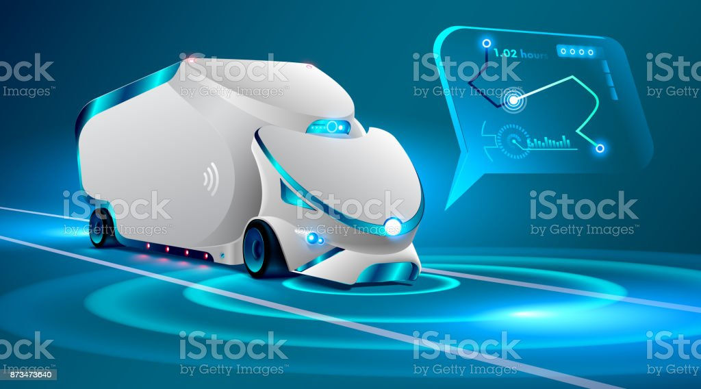 Autonomous truck drive on the road. Unmanned vehicles. artificial intelligence controls the Autonomous truck. car ' locus insignis in an interactive map, gps system. Future concept car. vector art illustration
