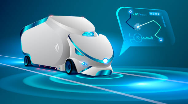 ilustraciones, imágenes clip art, dibujos animados e iconos de stock de coche autónomo camión en la carretera. vehículos no tripulados. inteligencia artificial controla el camión autónomo. coche ' insignis de lugar geométrico en un mapa interactivo, sistema de gps. coche del concepto de futuro. - conductor de autobús