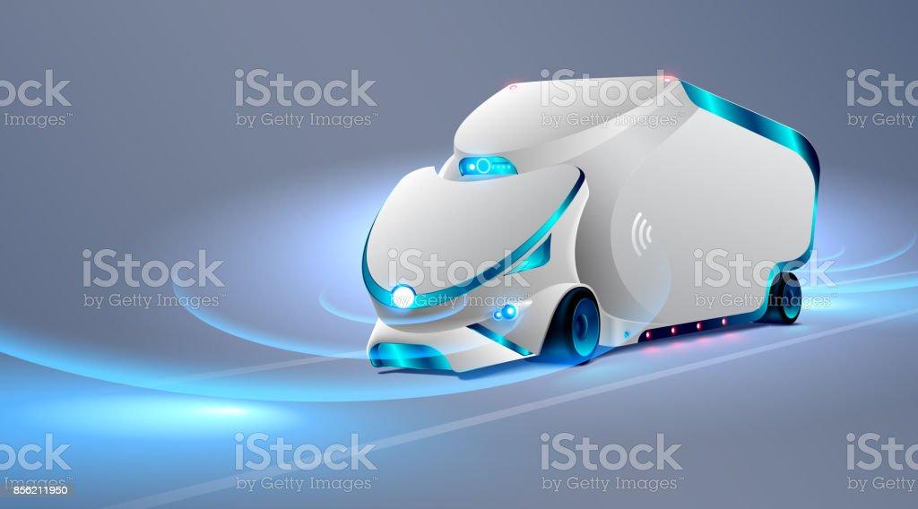 Autonomous truck drive on the road. Unmanned vehicles. Future concept car. VECTOR vector art illustration