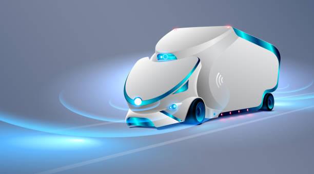 自主的卡車開上了路。無人駕駛的飛行器。未來概念車。向量 - 獨立 幅插畫檔、美工圖案、卡通及圖標