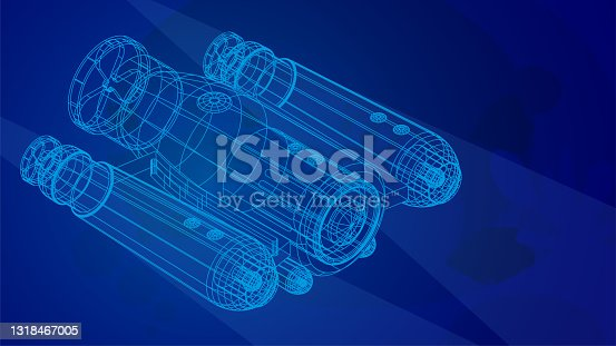 istock autonomous underwater robot drone for seabed exploration and deep sea video filming in wireframe low poly mesh on blue underwater background. 3d vector 1318467005