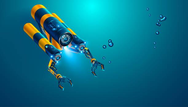 マニピュレーターやロボット アームと自律型水中無人探査機近代的な遠隔操作の水中ロボット。架空の海底は、ドローンまたは深海探査や海底監視用ロボット。 - リモート点のイラスト素材/クリップアート素材/マンガ素材/アイコン素材