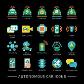 Autonomous vehicle vector color icon set with black background. Self driving sensor smart vehicle sign with connectivity, cloud computing, wireless key, lane assistance, location services, navigation.