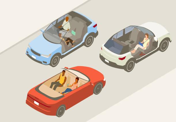 Autonomous vehicles illustration vector art illustration