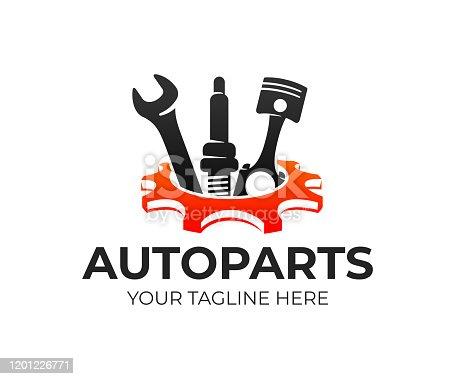 istock Autoparts in gear, auto piston, spark plug and wrench, design. Automotive parts, automobile detail and repairing car, vector design and illustration 1201226771