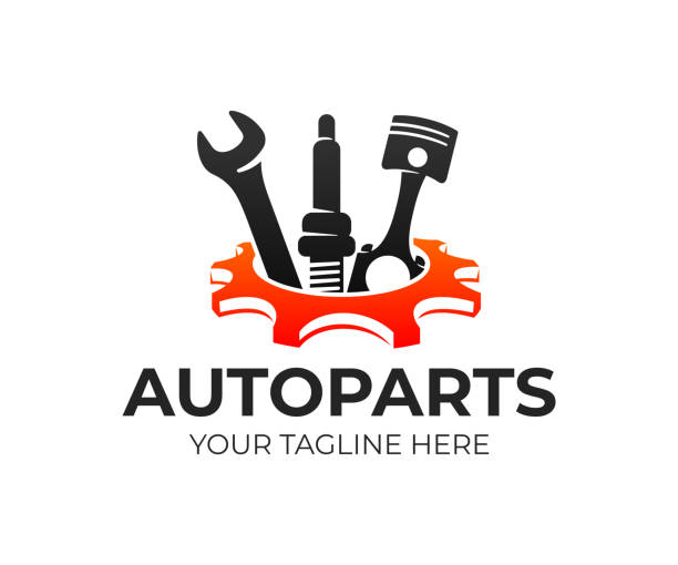 Autoparts in gear, auto piston, spark plug and wrench, design. Automotive parts, automobile detail and repairing car, vector design and illustration Autoparts in gear, auto piston, spark plug and wrench, design. Automotive parts, automobile detail and repairing car, vector design and illustration machine part stock illustrations