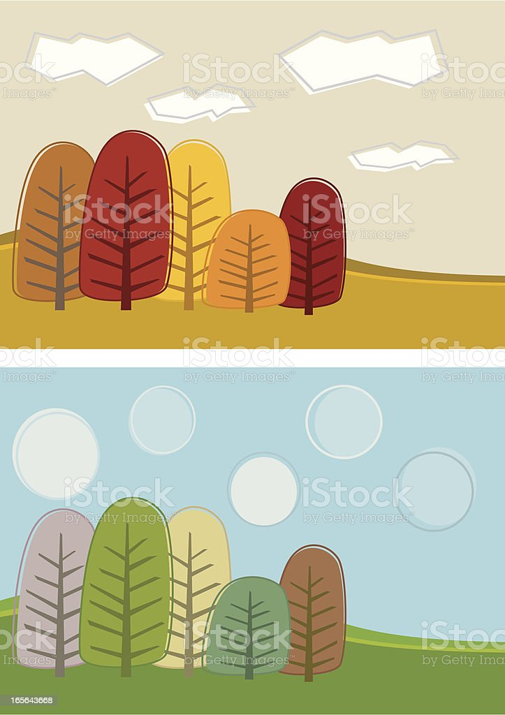 Autum and Spring Scene royalty-free stock vector art