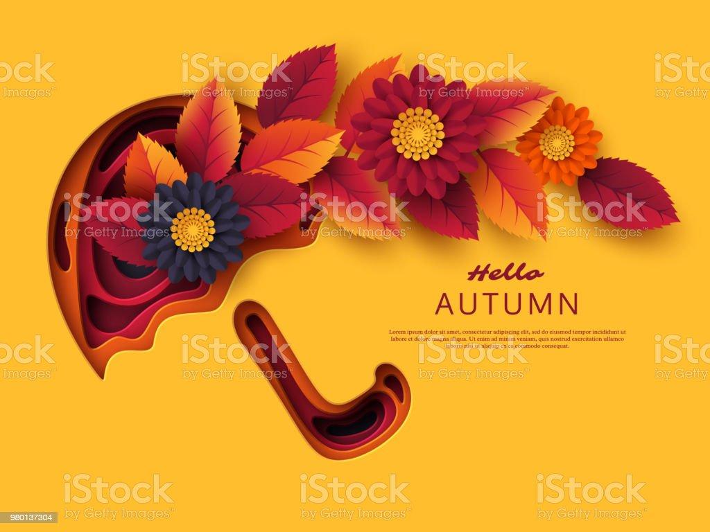 Sonbahar yaprakları ve çiçekleri ile şemsiye 3D kağıt kesme. Arka plan ile sarı, turuncu, mor renklerde şekiller. Dekorasyon, iş sunumu, posterler, el ilanları, parmak izi, vektör için tasarım. vektör sanat illüstrasyonu