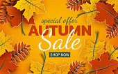 Autumn 3d sale banner, paper colorful tree leaves on yellow background. Autumnal design for fall season sale banner, special offer poster, flyer, web site, paper cut art style, vector illustration
