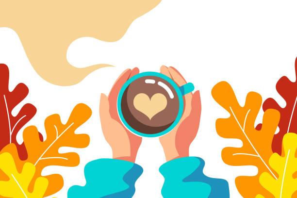 ilustrações de stock, clip art, desenhos animados e ícones de autumn, a cup of coffee - chá bebida quente