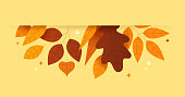 Abstract plant leaf fall autumn modern border.