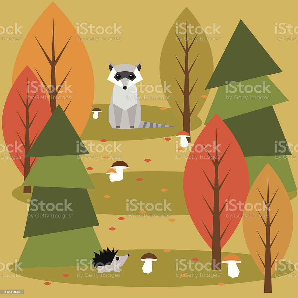秋の抽象的なベクトルイラスト背景に幾何学模様の森の動物 のイラスト