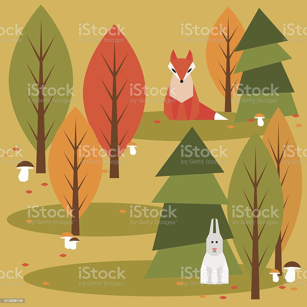 秋の抽象的なベクトルイラスト背景に幾何学模様の森の動物