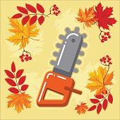 autumn agricultural icons with autumn leaves_9