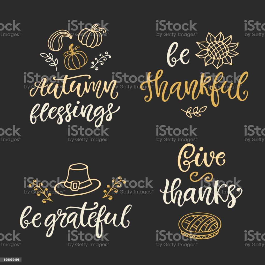 Outono e o dia de ação de Graças mão escrito o conjunto de letras e rabiscos de tinta - ilustração de arte em vetor