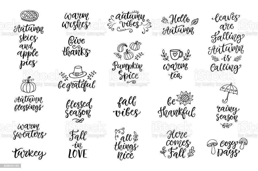 Outono e ação de Graças mão escrito conjunto de letras e rabiscos, isolado no branco - ilustração de arte em vetor