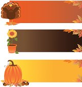 A variety of autumn colored web banners with Thanksgiving and autumn related items, including a turkey, sunflower, pumpkin, acorns, and autumn leaves. Plenty of room for text. Extra large JPG and Illustrator 8 compatible EPS are included.