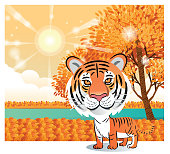 Vector Autumn And Tiger