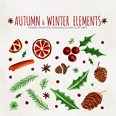 Autumn and Winter Design Elements Clip Art. Hot Mulled Wine Ingredient Christmas Pattern. Dried Orange, Cinnamon, Star Anise, Acorn, Leaves and Pine Tree Background.