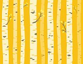 Autumn aspen grove, seamless tileable background pattern. Birch or aspen trees with yellow leaves. Vector illustration.