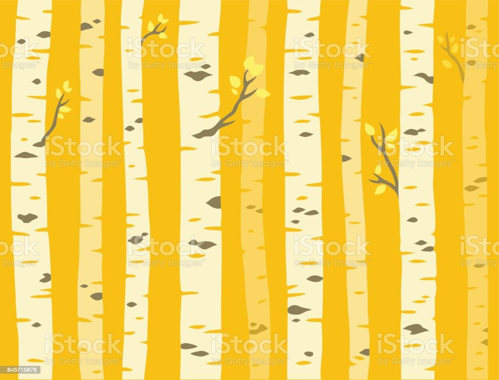 Autumn aspen tree pattern vector art illustration