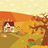 Autumn farm landscape.
