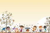 Vector Autumn background and kids