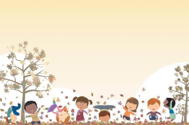 bildbanksillustrationer, clip art samt tecknat material och ikoner med hösten bakgrund och barn - children autumn