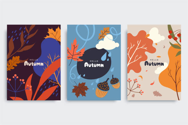 Autumn background collection in different styles. Abstract illustration with autumn forest, fallen leaves, colorful foliage. Use for event invitation, print design, discount voucher, ad. Vector eps 10 vector art illustration