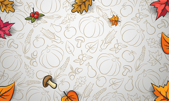 Autumn background. Falling leaves on white background. Pattern with vegetables, fruits and autumn leaves.