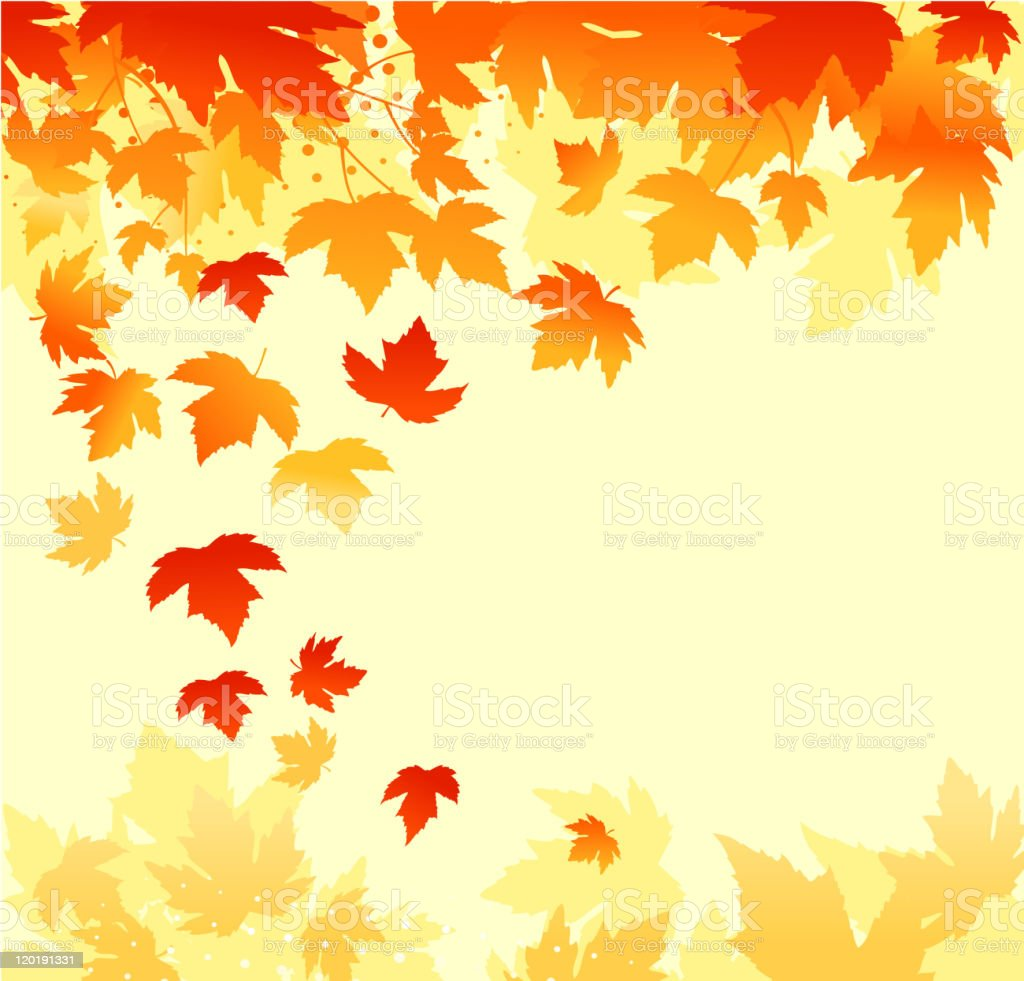 Autumn background graphic featuring falling leaves royalty-free stock vector art