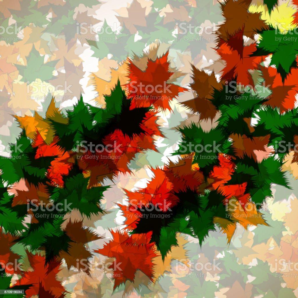 Autumn background of maple leaves vector art illustration