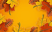 Autumn background, tree paper leaves, yellow backdrop, design for fall season sale banner, poster or thanksgiving day greeting card, festival invitation, paper cut out art style, vector illustration